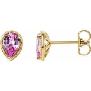 Genuine Sapphire Earrings in 14 Karat Yellow Gold Pink Sapphire Earrings