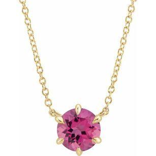 Pink Tourmaline Necklace in 14 Karat Yellow Gold Pink Tourmaline Solitaire 16