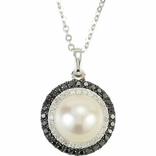 Genuine 14 Karat White Gold Freshwater Pearl & 0.25 Carat Black & White Diamond 18