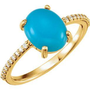 Genuine  14 Karat Yellow Gold 10x8mm Oval Cabochon Turquoise & 0.10 Carat Diamond Ring