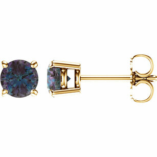 Shop 14 Karat Yellow Gold 5mm Round Genuine Chatham Alexandrite Earrings