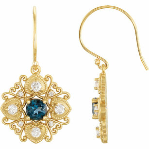 Buy 14 Karat Yellow Gold London Blue Topaz & 0.50 Carat Diamond Vintage-Style Earrings