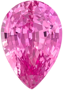 Very Desirable Genuine Loose Pink Sapphire Gemstone in Pear Cut, 9 x 6.3 mm, Rich Hot Pink, 2.13 carats