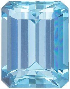 Great Genuine Loose Aquamarine Gemstone in Emerald Cut, 9 x 7 mm, Rich Sky Blue, 2.39 carats
