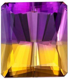 Stunning 25.84 carat Bicolor Ametrine Gemstone in Emerald Cut 18.9 x 16.8 mm
