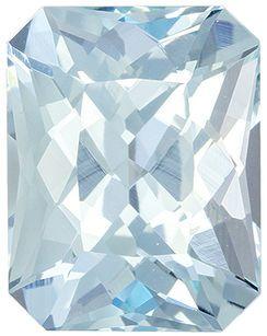 Super Lovely Genuine Loose Aquamarine Gemstone in Radiant Cut, 10.5 x 8.2 mm, Medium Sky Blue, 3.45 carats