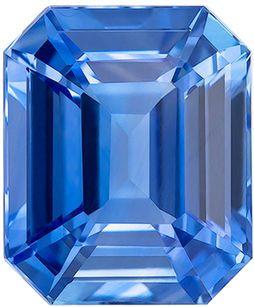 GIA Certified Genuine Loose Blue Sapphire Gemstone in Emerald Cut, 9.42 x 7.83 x 5.38 mm, Medium Cornflower Blue, 4.06 carats