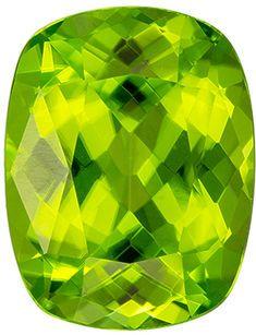 Natural Loose 4.84 carats Green Peridot Cushion Genuine Gemstone, 11.7 x 9.1 mm