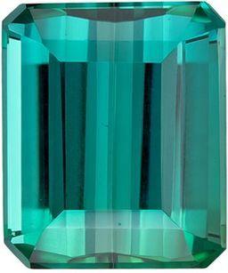 Lovely Blue Green Tourmaline Genuine Loose Gemstone in Emerald Cut, 5.71 carats, Vivid Teal Blue Green, 11 x 9.3 mm