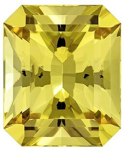 Loose Genuine Yellow Yellow Beryl Genuine Stone, 8.69 carats, Radiant Cut, 14.3 x 11.9  mm , Great Low Price