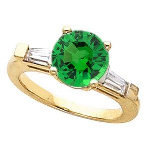 Fine Round 1 carat Custom Tsavorite Garnet Gemstone Engagement Ring With Diamond Baguette Side Gems