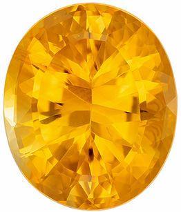 Fiery Citrine Genuine Loose Gemstone in Oval Cut, 14.48 carats, Medium Golden Yellow, 18.4 x 15.3 mm