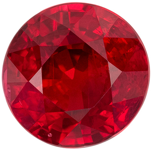 Must See GIA Certified Genuine Loose Ruby Gem in Round Cut, 7.08 mm, Vivid Open Red Color, 2.08 carats
