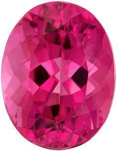 Fiery Pink Tourmaline Genuine Loose Gemstone in Oval Cut, 5.36 carats, Vivid Medium Pink, 12.2 x 9.4 mm