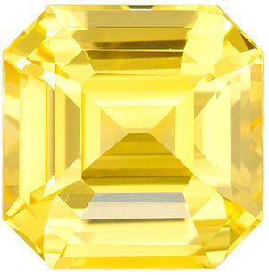 Bright Untreated GIA Genuine Yellow Sapphire Gemstone in Emerald Cut, 3.04 carats, Medium Pure Yellow, 8.03 x 7.94 x 5.04 mm
