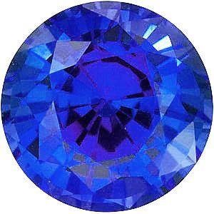 Chatham Lab Blue Sapphire Round Cut in Grade GEM
