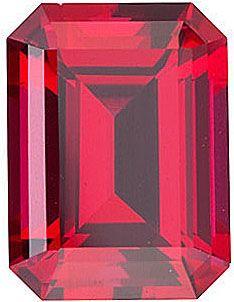 Chatham Lab Lab Ruby Emerald Cut in Grade GEM