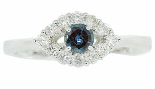 Real Low Price on Round Cut Color Change 0.25ct 4mm Alexandrite & Diamond Ring in 14 kt White Gold