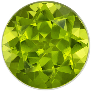 Faceted Peridot Gem in Round Cut, 6.1 mm in Gorgeous Medium Lime Green, 1.04 carats
