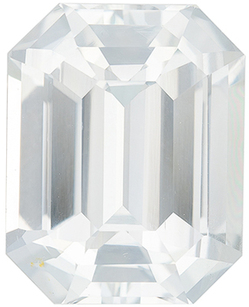 Fiery GIA Certified Unheated Genuine White Sapphire Gem in Emerald Cut, 12.82 x 10.19 mm in Gorgeous Colorless White, 8.52 carats