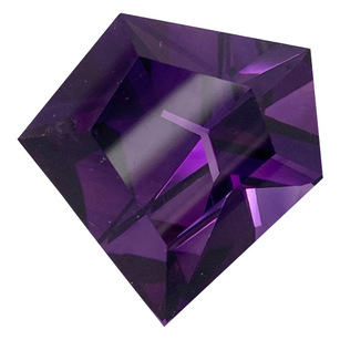 Genuine Amethyst Gemstone in Abstract Cut, 36.61 carats, 26 x 26 mm Displays Pure Purple Color