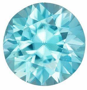 Genuine Blue Zircon Gemstone, 1.18 Carats, Round Shape, 5.7 mm, Fine Teal Blue Color