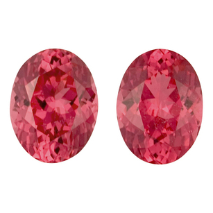 Mahenge Strawberry Spinel Well Matched Gem Pair in Oval Cut, 4.38 carats, 8.80 x 7 mm Displays Rich Strawberry Pink Color