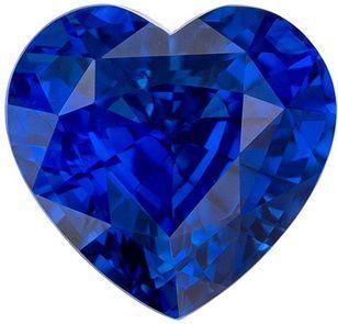 Gorgeous Blue Sapphire Gemstone, 2.27 Carats, Heart Shape, 7.6 mm, Excellent Royal Blue Color
