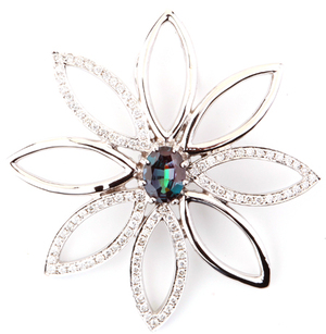 Lively and Lovely Star Burst Genuine Alexandrite Flower Pendant With Diamond Accents - 0.51 carats