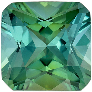 Low Price on  Blue Green Tourmaline Gem in Radiant Cut, 6.5 mm in Gorgeous Medium Blue Green, 1.32 carats