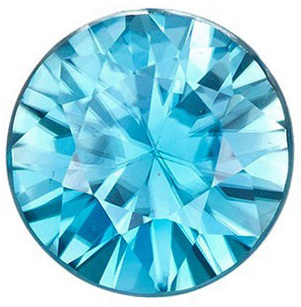 Low Price on  Bright Genuine Loose Blue Zircon Gem in Round Cut, 7 mm, Teal Tinged Blue Color, 1.98 carats