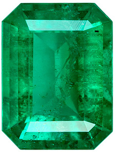 Low Price on  Bright Genuine Loose Emerald Gem in Emerald Cut, 7.9 x 6 mm, Medium Rich Green Color, 1.37 carats