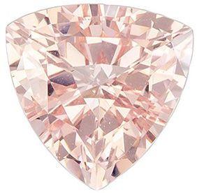 Low Price on  Genuine Loose Morganite Gem in Trillion Cut, 7.1 mm, Pink Orange Peach Color, 1.14 carats