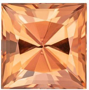 Truly Stunning  Imperial Topaz Genuine Gemstone, 3.08 carats, Princess Shape, 8 mm