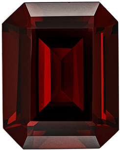 Must See Bright Genuine Loose Red Garnet Gem in Emerald Cut, 10 x 8 mm, Rich Red Color, 3.95 carats
