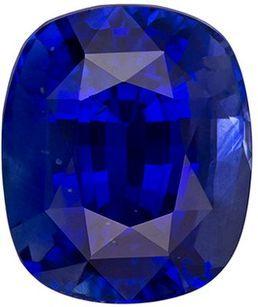 Stunning GIA Certified Genuine Loose Blue Sapphire Gemstone in Cushion Cut, 8.85 x 7.45 x 5.77 mm, Intense Rich Blue, 3.35 carats