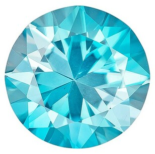 Natural Gem Blue Zircon Round Shaped Gemstone, 1.66 carats, 7mm - Unusually Fine