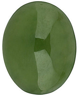 Oval Cabochon Genuine Jade in Grade AAA