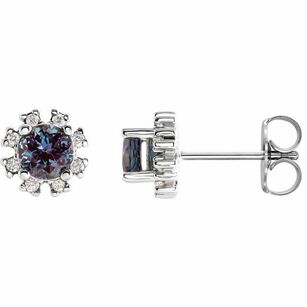 Color Change Created Alexandrite Earrings in Platinum Chatham Created Alexandrite & .07 Carat Diamond Earrings