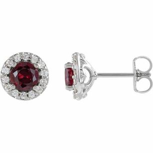 Created Ruby Earrings in Platinum Chatham Lab-Created Ruby & 1/6 Diamond Earrings