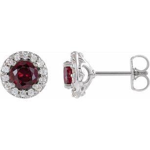 Created Ruby Earrings in Platinum Chatham Lab-Created Ruby & 1/6 Diamond Earrings