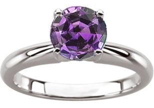 Genuine Alexandrite Engagement Solitaire Ring in Round Cut Low Price on 4.0mm, 0.25 carat Gem, 4 prong in 14 KT white gold