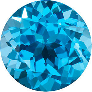 Round Cut Genuine Swiss Blue Topaz in Grade AAA