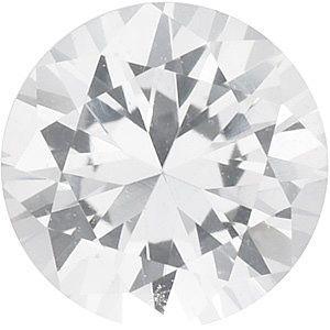 Round Cut Genuine White Sapphire in Grade AAA