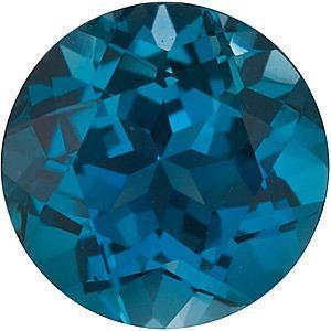 Round Genuine London Blue Topaz in Grade AAA