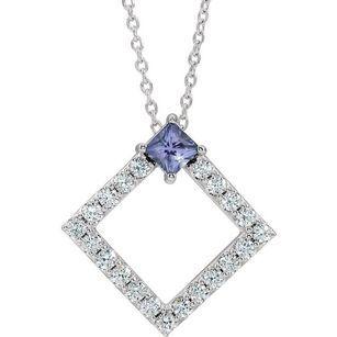Genuine Tanzanite Necklace in Sterling Silver Tanzanite & 3/8 Carat Diamond 16-18