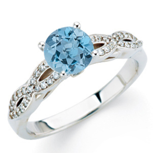 Low Price on Lone Deep Blue Aquamarine 1ct 6mm Round Gem Perfectly set in Double Shank Diamond Ring in 14 kt Gold