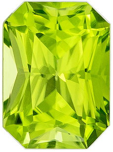 Top Quality in  Peridot Gem in Radiant Cut, 7 x 5.1 mm in Gorgeous Medium Lime Green, 1.13 carats