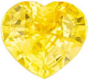 Genuine Loose Yellow Sapphire Gemstone in Heart Cut, 2.02 carats, Intense Medium Yellow, 7.9 x 7 mm