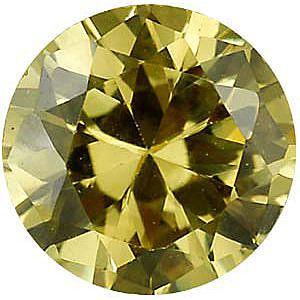 Yellow Cubic Zirconia Round Cut Stones